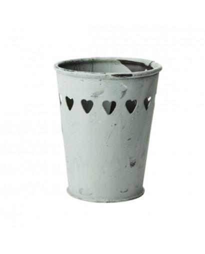 Pot / Photophore en métal gris