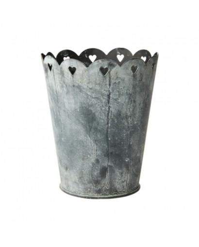 Pot / Cache pot en métal gris