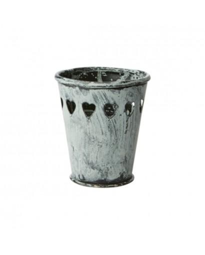 Pot / Cache pot, en métal gris
